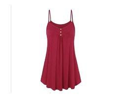 2019 Summer Women Loose Button V Neck Cami Tank Tops Vest Blouse Sleeveless T-Shirt