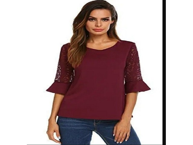 Women's Casual Short Bell Sleeve Tops Scoop Neck Pleated Blouses Shirts Wine Red XL | free-classifieds.co.uk