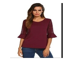 Women's Casual Short Bell Sleeve Tops Scoop Neck Pleated Blouses Shirts Wine Red XL
