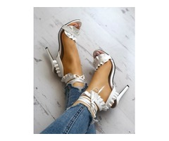 Solid Lace-up Ruffles Peep Toe Stiletto Sandals