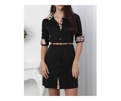 Oversize Roll-up Sleeve Contrast Binding Shirt Dress