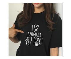 I LOVE ANIMALS SO I DON'T EAT THEM VEGETARIAN VEGAN FUNNY HUMOUR PRINTED WOMEN T-SHIRT