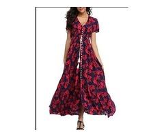 VintageClothing Women's Floral Print Maxi Dresses Boho Button Up Split Beach Party Dress, Deep Blue&