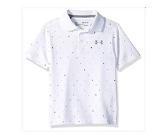 Under Armour Boys' Performance Novelty Polo, White (101)/Steel, Youth X-Small
