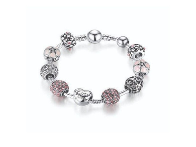 BISAER Murano Glass Beads Charm Bracelet Enameled Heart Silver Plated | free-classifieds.co.uk
