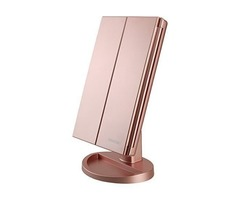 DeWEISN Tri-Fold Lighted Vanity Makeup Mirror Mirror,Touch Sensor Switch,(Rose Gold)