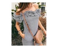 Striped Ruffles Off Shoulder Pocket Mini Dress