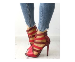 Caged Cut Out Peep Toe Stiletto Sandals