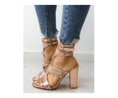 Transparent Cutout Buckled Chunky Heeled Sandals