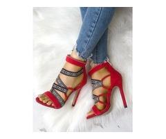 Tribal Embellished Bandage Thin Heeled Sandals