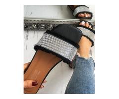 Sequins Embellished Fringe Hem Non-slip Slippers