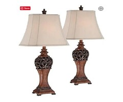 Exeter Traditional Table Lamps Set Of 2 Bronze Wood Carved Leaf Creme