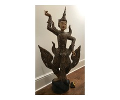 Big Lovely Wooden Statue of a Dancing Indonesian Figure