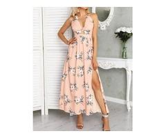 Floral Halter Twisted Cutout Side Slit Dress