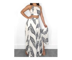 Leaf Print Backless Cami Top  Split Maxi Skirt Set