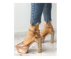 Open Toe Shiny Chunky Heeled-Sandals