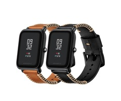 Replacement 20mm Leather Watch Band for Xiaomi Amazfit Pace Youth Smart Watch