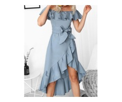 Off Shoulder Ruffles Belted Hi-Lo Hem Casaul Dress