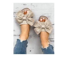 Open Toe Bowknot Espadrille Casual Slippers