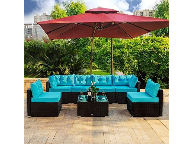 Amooly 7 Pieces Patio PE Rattan Sofa Set Outdoor Sectional Furniture Wicker Chair Conversation Set W | free-classifieds.co.uk