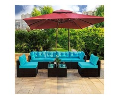 Amooly 7 Pieces Patio PE Rattan Sofa Set Outdoor Sectional Furniture Wicker Chair Conversation Set W
