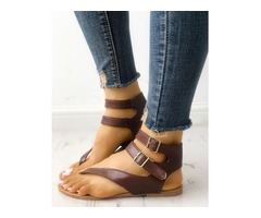 Toe Post Buckle Flat Sandals