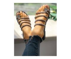 Shiny Star Multi-strap Non-Slip Flat Sandals