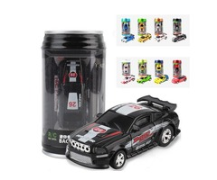 1PC 1/58 Electric Mini Coke Rc Car W/ LED Light Radio Remote Control Micro Racing Toy Random Color