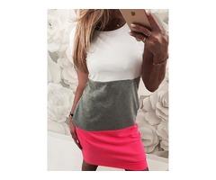 Short Sleeve Colorblock Casual Dress