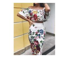 Floral Print Off Shoulder Cropped Top  Skirt Set