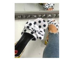 Polka Dot Bow-tie Non-Slip Flat Slippers