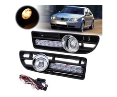 Pair Front Lower Bumper Fog Light Cover Grille w/LED DRL for VW Bora Jetta MK4 1999-2007
