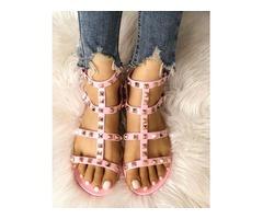 Rivets Embellished Hollow Out Flat Sandals
