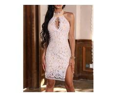 Eyelash Lace Keyhole Neck Split Bodycon Dress