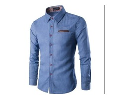 NEW BLUE FASHION BRAND MEN SHIRT