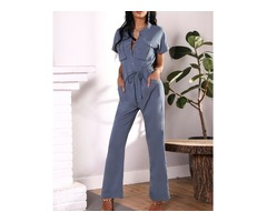 Button Pocket Front Roll-Up Design Drawstring Jumpsuit