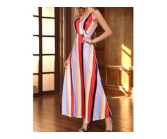 Multicolored Spaghetti Strap Striped Maxi Dress