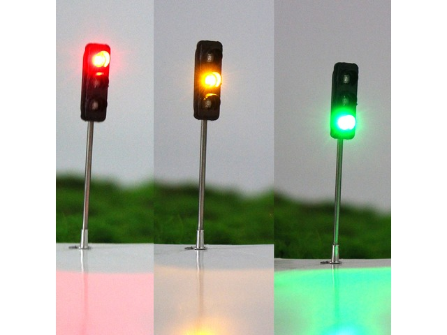 3Pcs 50mm DIY Model 3-Light Traffic Lights Signal Architecture Street Train | free-classifieds.co.uk