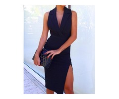 Solid Sleeveless V Neck Thigh Split Blazer Dress
