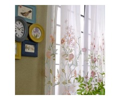 Buy Fragrance Blue Branch Embroidered Voile Curtains Online