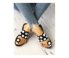 Button Decorated Toe Ring Flat Sandals