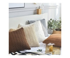 Cotton Knit Cushion Covers Decorative Stretchable Pillow Case for Living Room Car Office