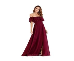 Ever-Pretty Womens Off The Shoulder Ruffle Party Dresses Side Split Beach Maxi Dress