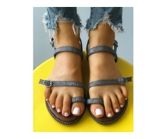Sparkle Buckled Toe Post Flat Sandals