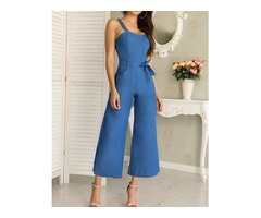 Denim Waist Belted Wide Leg Jumpsuit