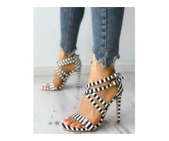 Striped Crisscross Strappy Thin Helled Sandals