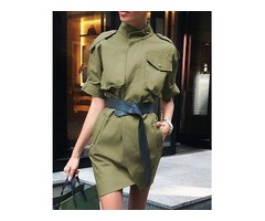Solid Roll-up Sleeve Wrapover Front Mini Dress