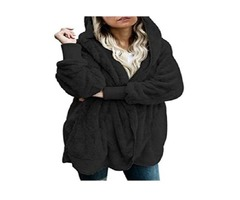 Dokotoo Womens Long Sleeve Solid Fuzzy Fleece Open Front Hooded Cardigans Jacket Coats Outwear with