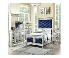 ACME Varian Queen Bed – – Blue Velvet & Mirrored