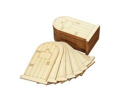 25Pcs Laser Cut Wooden Fairy Doors Unpainted with Plaque DIY Craft